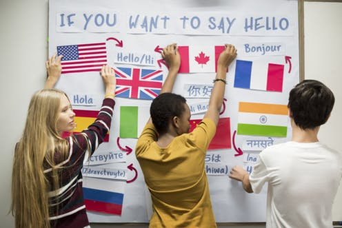 Students working on a world language bulletin board